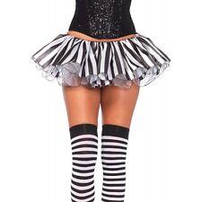 Sexy Black White Striped Satin Chiffon Tutu Layer Skirt Halloween Costume Clown