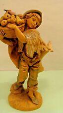 "Vintage Fontanini Depose Italy 1987 Boy Holding Fruit Basket Figurine 5"" Tall"