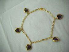 """Swarovski Vintage Hearts & 14K Gold Filled Bracelet 8"""" NWOT"""
