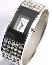 HENLEY Ladies Sparkling Big Crystals Bangle Watch, Mirror Dial, Black Surround