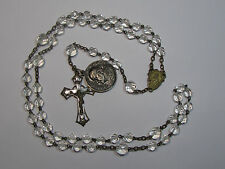 † GIFT VINTAGE BLESSED ST POPE XXIII 1958 VATICAN MEDAL & CLEAR CRYSTAL ROSARY †