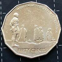 2005 AUSTRALIAN 50 CENT COIN - WORLD WAR 1939 - 1945 REMEMBRANCE