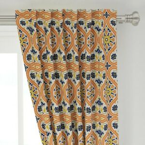 """Medieval Damask Ornate Orange Renaissance 50"""" Wide Curtain Panel by Roostery"""