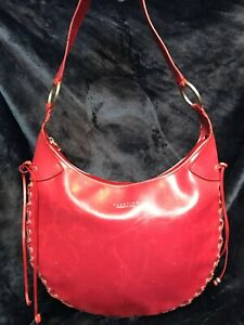 Kenneth Cole Reaction - Red Tote with side stitch fringe- zipper closure