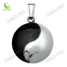 Wholesale white turquoise and agate Yin Yang Tai Chi charm pendants 2pcs/lot