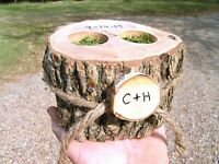 Personalized Ring bearer box, Rustic wedding pillow alternative