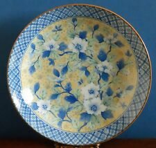 "A 7.5"" Japanese Porcelain Dish Traditional Peonies Blue White Green on Yellow"
