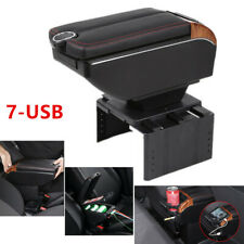 7 USB Charging Car Dual Opening Armrest Storage Box Central Console PU Leather