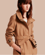 BURBERRY WOMENS GIBBSMOORE WOOL BLEND BELTED TRENCH COAT - CAMEL - SIZE 2 - NWT