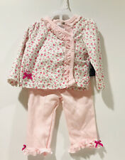 Baby Girl 3-6 Month Laura Ashley Long Sleeve Shirt Pants Floral Pink Set