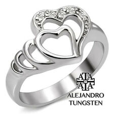 Women's Ring Promise Stainless Steel Silver Shiny Heart Design Size 10