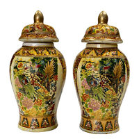 Vintage Chinese Porcelain Birds of Paradise Ginger Jar Urns w/ Lid - a Pair