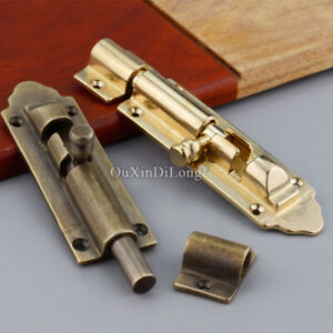 4PCS Retro Vintage Antique Brass Slide Door Bolt Barrel Latch Gate Security Lock