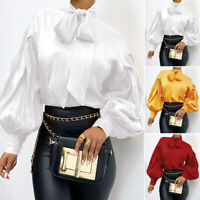 ZANZEA UK Womens Long Sleeve Bow Tie Button Cuffs Shirt Casual Loose Tops Blouse