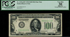 1934 $100 Federal Reserve Note - FR.2152-H* - Star Note - PCGS 30 Apparent