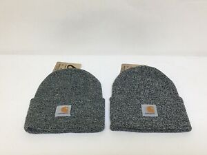 Lot Of (2) Carhartt Acrylic Black & White A18 019 Watch Hat Beanie One Size