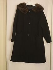 Beautiful Vintage Womens Black Coat with Fur collar Super Nice!