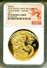 2016 China Medal Piefort 40mm Brass Year Of The Monkey Gilt NGC PF70 Ultra Cameo