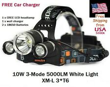 CREE XLamp XM-L 3*T6 5000 Lumen LED Headlamp 18650 Batteries Car Charger Fishing
