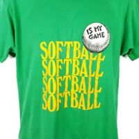 Softball T Shirt Vintage 80s Screen Stars Single Stitch 50/50 Made In USA Large