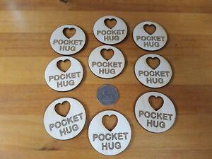 10 x 5cm Hug Token, Pocket Hug wood engraved love thank you gift