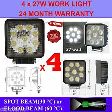 4x 27W 12V LED WORK LIGHT TRUCK TRAILER BOAT OFFROAD FLOOD BEAM LAMP 4WD SUV CAR