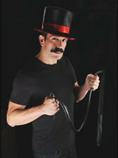 Halloween Ring Master Kit Moustache Top Hat & Whip Fancy Dress Showman Lion Tame
