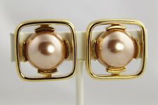 70s 80s VINTAGE Jewelry MONET SIGNED MOD ROSE & YELLOW GOLD PLATE CLIP EARRINGS