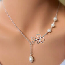 Silver Tone Chic Elegant Pearls Hollow Olive Branch Leaf Pendant Necklace Chain