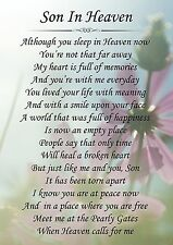 Son In Heaven Memorial Graveside Poem Card & Free Ground Stake F149