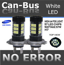 H7 Samsung LED 57-SMD Super White 6000K Headlight Light Bulbs High Beam Fog S83