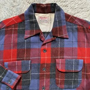 1950s Vintage Flannel Shirt  /'40s /'50s Wool Jacket  Vintage Plaid Wool Loop Collar Shirt With Flap Pockets