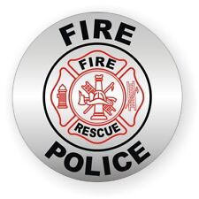Fire-Police Helmet Decal / Sticker Window Vinyl Label Fire Ladder Hard Hat Emt