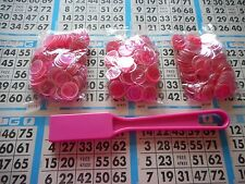 300 PINK MAGNETIC BINGO CHIPS WITH A PINK MAGNETIC BINGO WAND