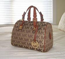 NWT Michael Kors Medium GRAYSON Satchel Bag MK Sig Jacquard Beige/Ebony/Luggage