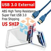 """2.5"""" Transparent 5Gbps USB3.0 to Sata3.0 HDD Case Tool Free Hard Drive Enclosure"""