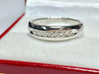 0.35 Ct Round Diamond Eternity Engagement Ring 14K Real White Gold Band Size 5 6