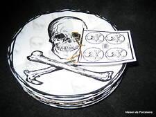 8 222 Fifth SKULL BLACK Halloween Appetizer Plates