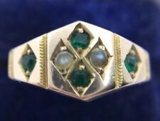 Pretty Antique Victorian Yellow Gold Emerald & Pearl Ring Band Hallmarked