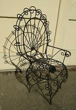 Antique Vintage Twisted Wrought Iron Metal Fan Peacock Small Childs Chair Black
