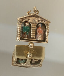 Vintage 9ct Yellow Gold Enamelled Articulated Weather House Charm 3.8g