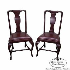 Custom Quality Leather Seat Pair of Queen Anne Side Chairs