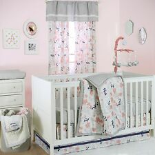 Peanut Shell 5 Piece Crib Bedding Set Baby Bloom Coral & Grey w/ Bumper & Mobile