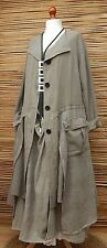 LAGENLOOK*KEKOO*LINEN/COTTON BEAUTIFUL 2 POCKETS LONG JACKET**BEIGE**SIZE 54-56