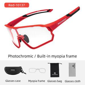 ROCKBROS Bicycle Photochromic Glggles Spotr Full Frame Anti-UV400 Sunglasses Red