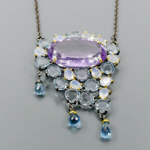 "70ct+ Vintage Amethyst Necklace 925 Sterling Silver  Length 19""/N06237"