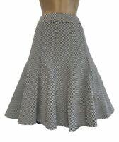 M&S Marks & Spencer Collection Black & White Skirt Chevron Flare Lined UK 12