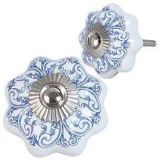 Clayre&Eef Möbelgriffe Möbelknopf Kommodenknopf Shabby Weiß* Blau Ornament