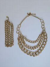 H&M Set Kette + Armband gold Gliederkette Blogger trend studio Statement Punk