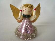 Vintage 1940s Chenille Spun Cotton Violet Angel, Mesh Dress, Christmas Ornament